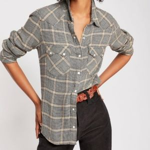 EUC free people houndstooth western blouse